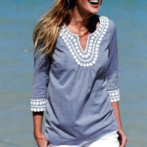 Boden chambray embroidered tunic
